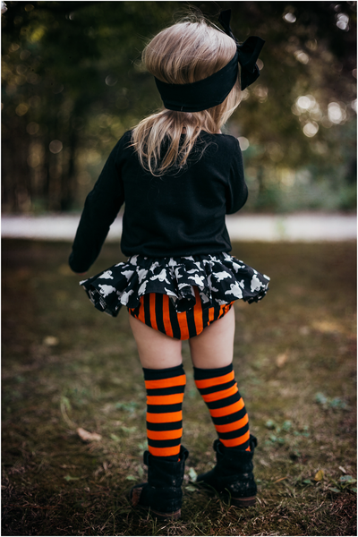 Black Ghost & Orange Stripe Bloomer Skirt