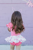 Coral Floral Bunny EASTER Bloomer Skirt