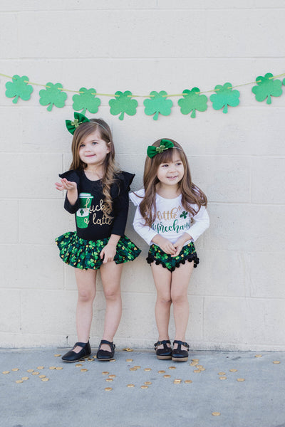 GOLD Glitter Four Leaf Clover ST. PATRICK'S DAY Shorties