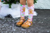 Baby Pink Gingerbread CandyLand Knee High Socks