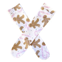 Light Pink Gingerbread Candy Cane Knee High Socks