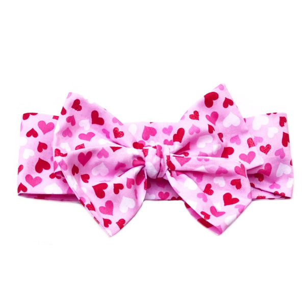 Pink Glitter Hearts Head Wrap