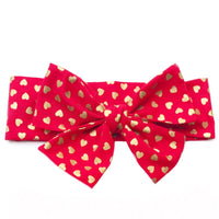 Red & Gold Hearts Head Wrap