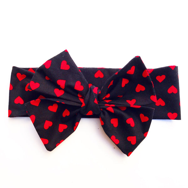 Black & Red Hearts Head Wrap