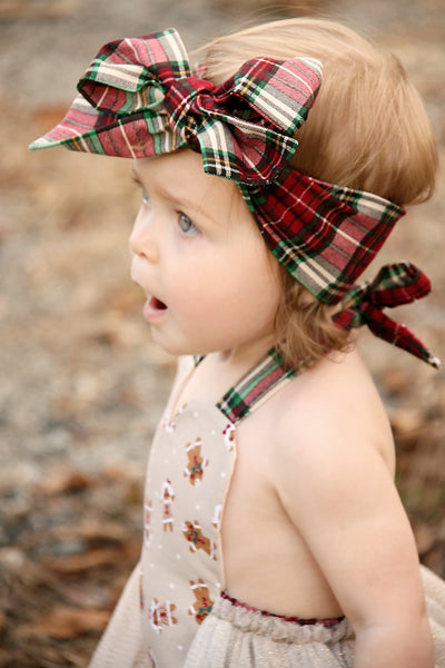 Ivory & Plaid Head Wrap