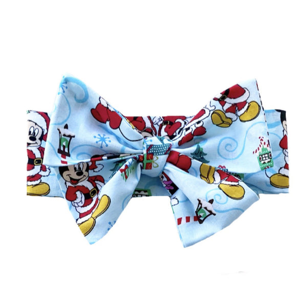 Blue Minnie & Mickey Christmas Head Wrap