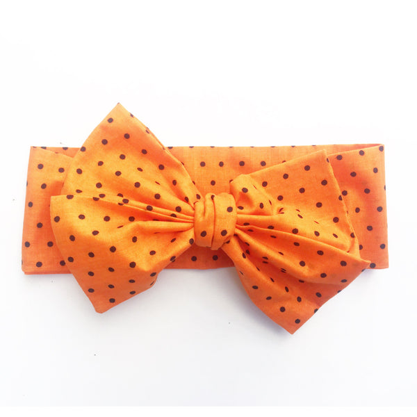 Orange & Black Tiny Dot Head Wrap