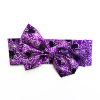 Purple & Black Metallic Spiders Head Wrap