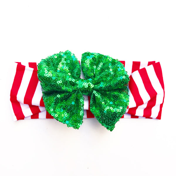 Red & White Vertical Stripe GREEN SEQUINS HeadBand