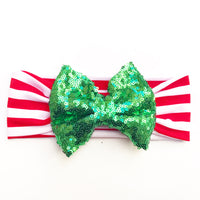 Red & White Stripe GREEN SEQUINS  HeadBand