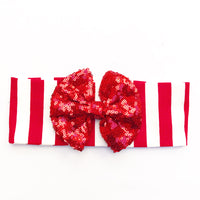 Red & White Vertical Stripe RED SEQUINS HeadBand