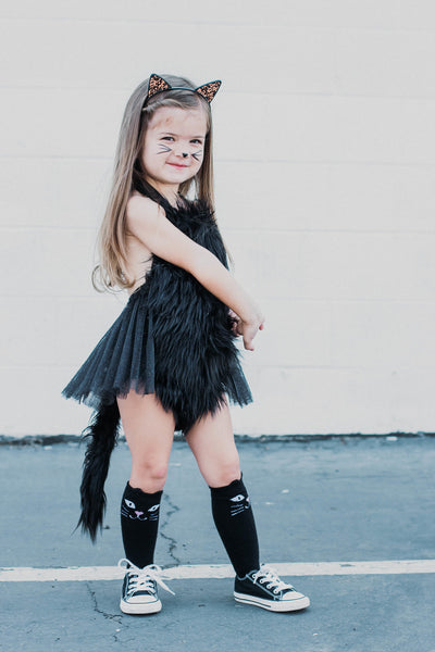 Puurrfect Black Faux Fur Cat Romper