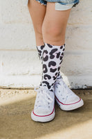 Black & Pink Cheetah Knee High Socks