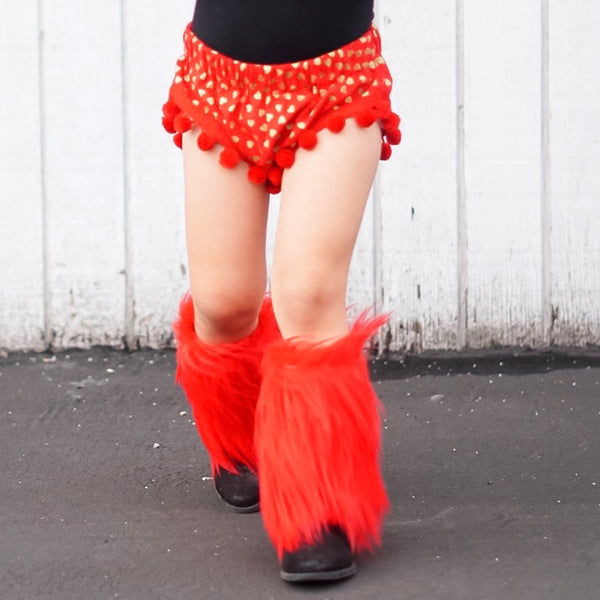 Lipstick RED Faux Fur Leg Warmers