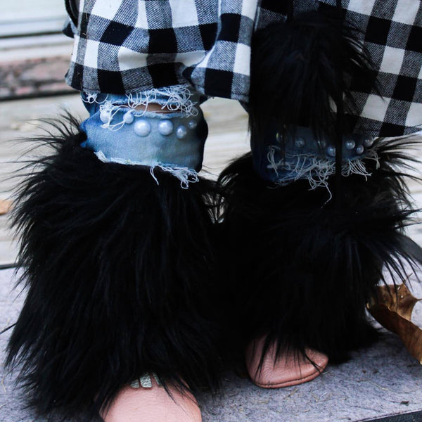 Black Onyx Faux Fur Leg Warmers