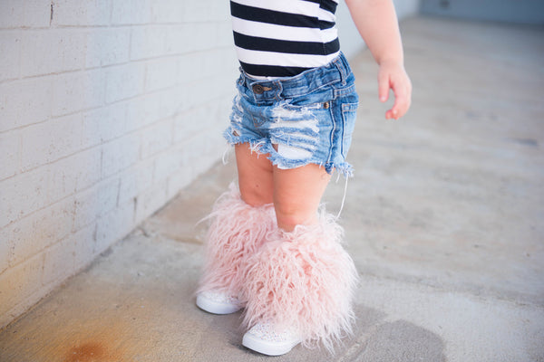 Shaggy Blush Faux Fur Leg Warmers