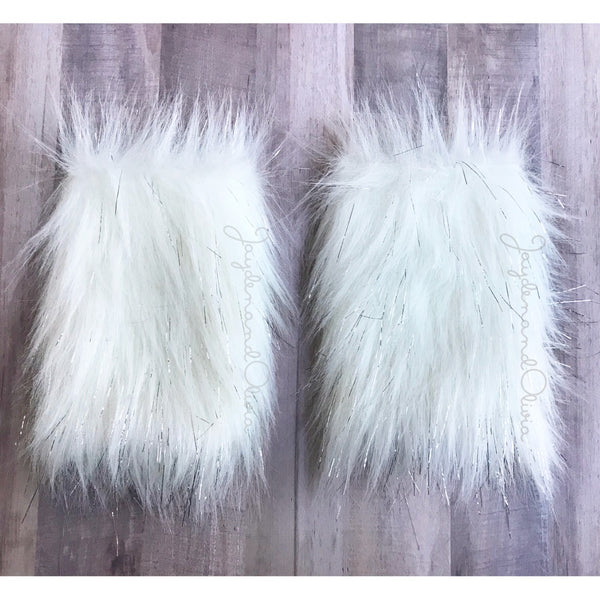 Sparkle White Faux Fur Leg Warmers
