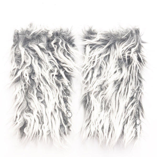 Shaggy Grey Faux Fur Leg Warmers