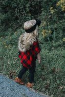 FLANNEL Lrg Black & Red Buffalo Plaid HOODED Poncho