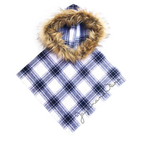 FLANNEL White & Black Plaid HOODED Poncho