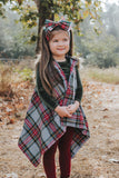 GREY HARVEST Plaid *HOODED* FAUX FUR Cape Vest
