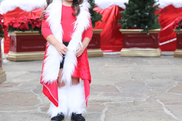 Crushed Red Velvet Santa FAUX FUR Cape Vest