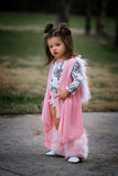 VELVET Baby Pink *HOODED* FAUX FUR Cape Vest