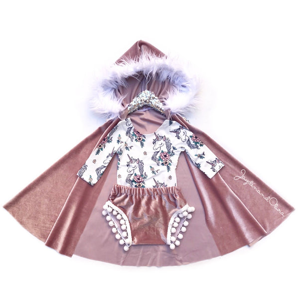 VELVET Pink Frost HOODED Cape
