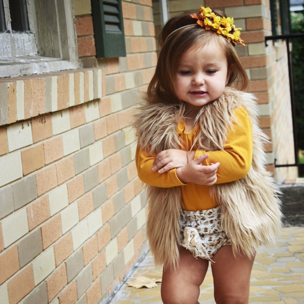 Tan Faux Fur Vest