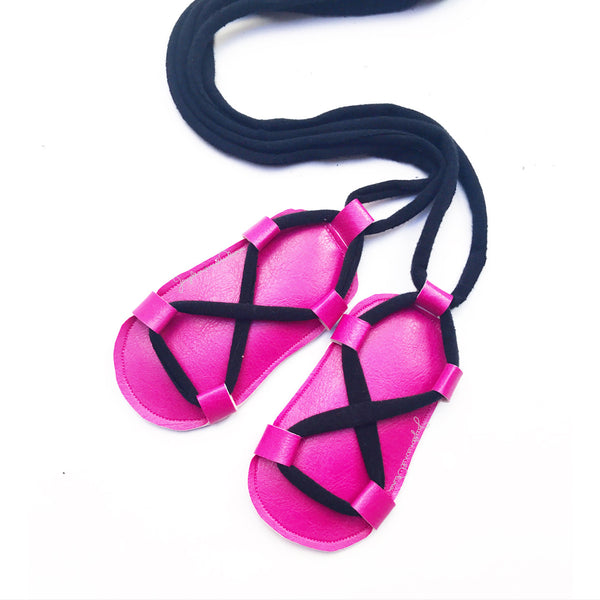 Hot Pink & Black Gladiator Sandals