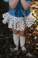 Tiny Coral Rosebud Bloomer Skirt