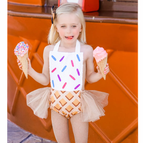 Rainbow *SPRINKLES* Ice Cream Cone Romper