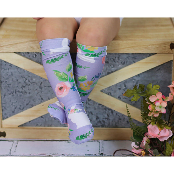 Lavender White Bunny Floral Knee High Socks