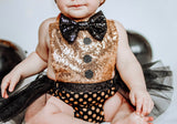 NEW YEARS Gold Sparkle CHEERS Romper