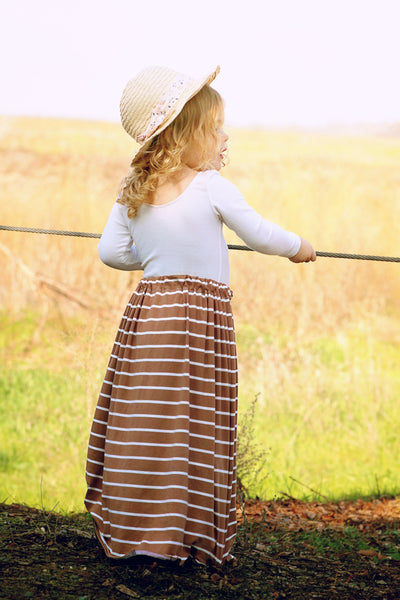 Brown Sugar Stripe Maxi Skirt