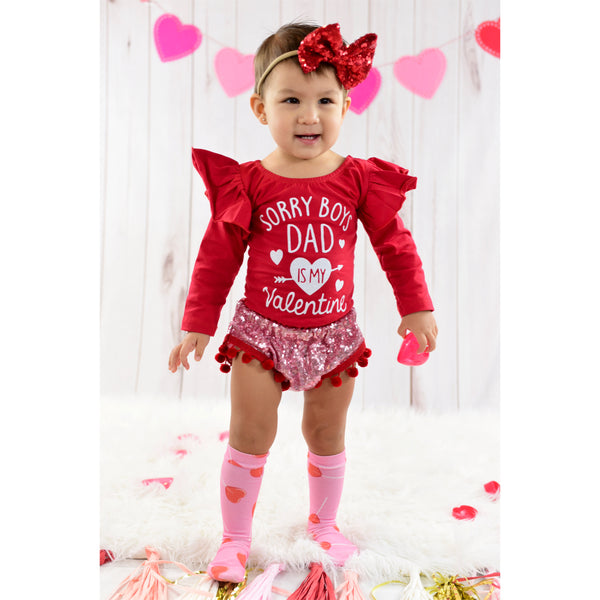 PINK SEQUINS Red Bow Pom Pom Shorties
