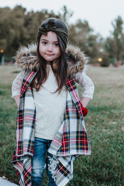 HARVEST Plaid *HOODED* FAUX FUR Cape Vest