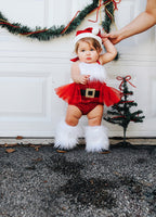 Extra Fluffy Sparkle Red Santa GOLD BUCKLE Romper