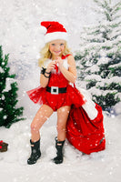 Extra Fluffy Sparkle Red Santa SILVER BUCKLE Romper