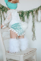 Bunny Tail SEAFOAM Crushed Velvet Pom Pom Shorties