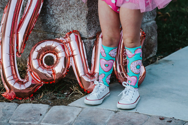 Teal X's O's Donuts Knee High Socks