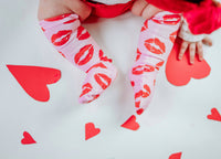 Pink & Red Kisses Knee High Socks