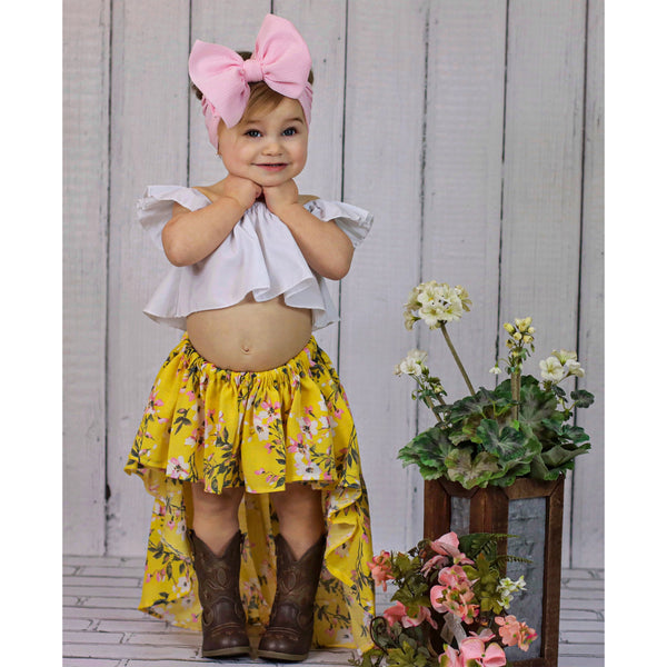 Mustard Floral High-Low Skirt