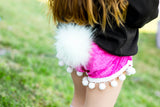 Bunny Tail HOT PINK Crushed Velvet Shorties