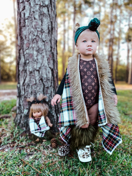 White Harvest Plaid FAUX FUR Cape Vest