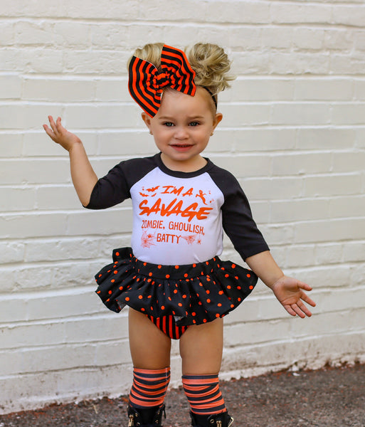 Orange & Black Stripe Tiny Dot Bloomer Skirt