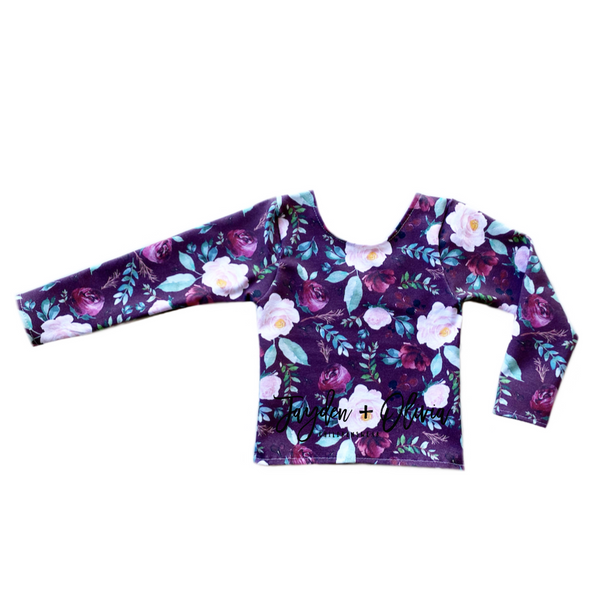 Cranberry Autumn Floral Long Sleeve Top (Child)