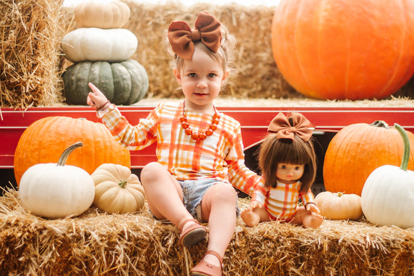 Red Autumn Plaid Long Sleeve Top (Child)
