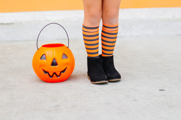 Orange Small Stripe Knee High Socks