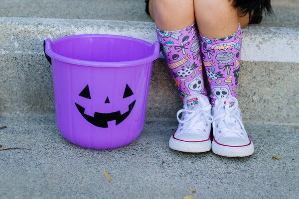 Purple Halloween Candy Knee High Socks